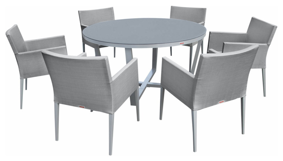 outdoor patio furniture aluminum gray glass 7 piece round dining table set