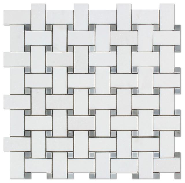 12 x12 thassos white greek marble polished basketweave mosaic tile blue dots