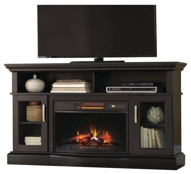 View Full Size Ambrose Black Tv Stand Homedecorators Com