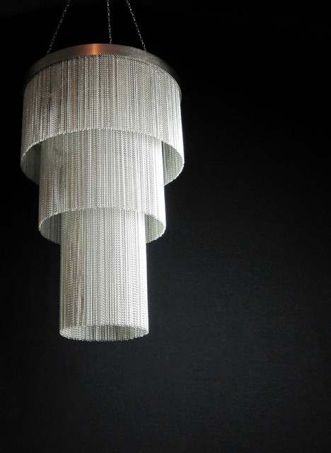 Silver Chain Long Chandelier Contemporary Chandeliers