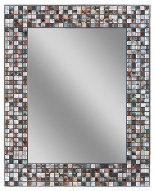"coppertone mosaic bathroom wall mirror, 24""x30"" - contemporary"
