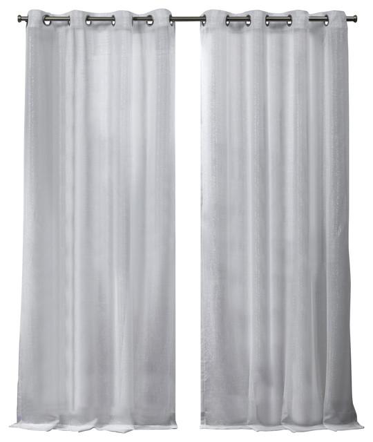 iceland metallic sheer grommet top curtain panels set of 2 white 54 x96
