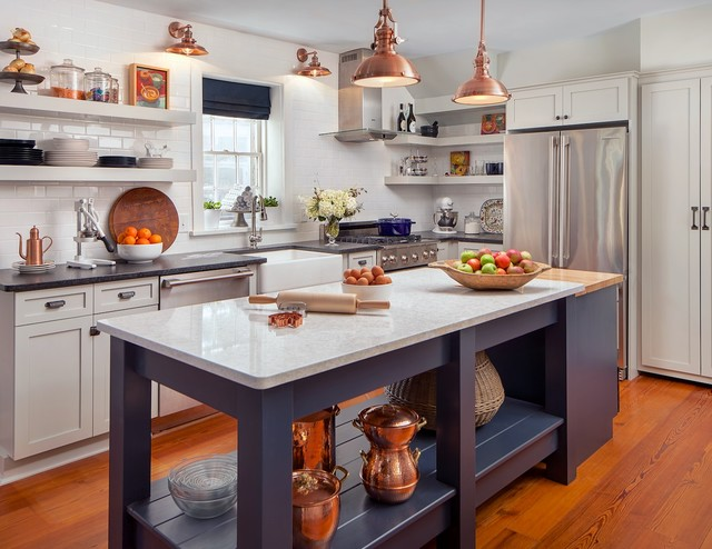 White Kitchen Navy Accents