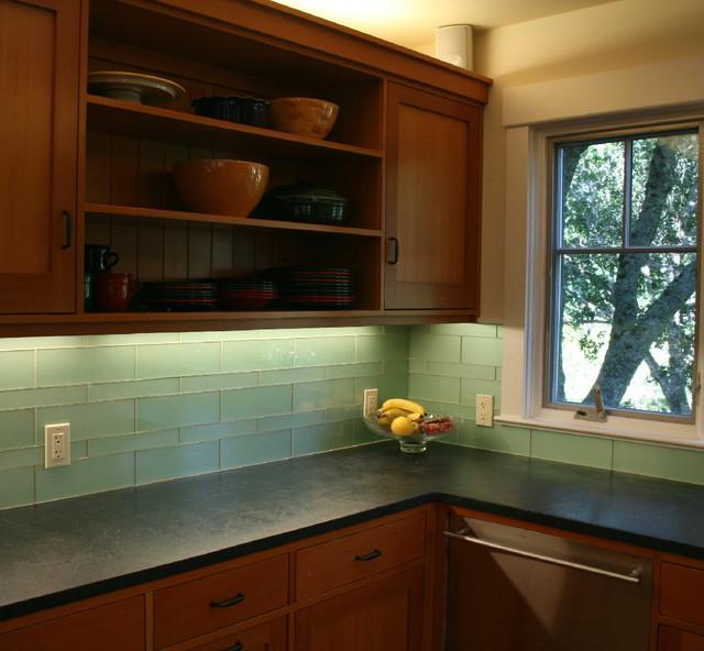 Green Glass Kitchen Backsplash Mill Valley Modern