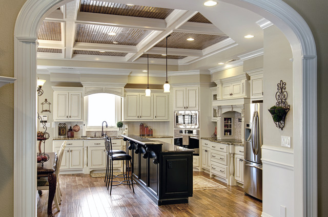 Painted White Cabinets with Glazing and Painted Black Island traditional-kitchen