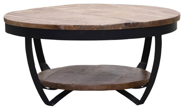 farmhouse industrial style reclaimed wood 2 tier round coffee table