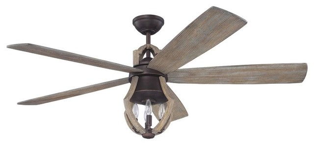 Winton Ceiling Fan Aged Bronze With Weathered Pine