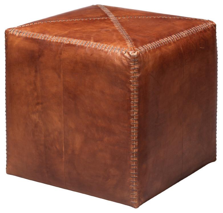 tobacco leather ottoman small