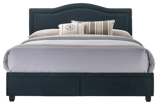 Upholstered All In One Camel Back Queen Storage Bed With Usb Navy Transitional