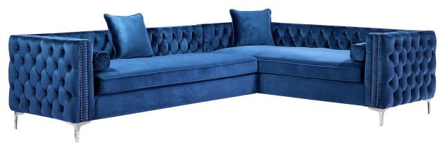 jeannie 120 velvet corner sectional sofa navy right facing