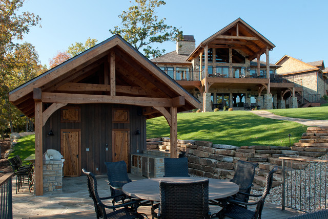 Custom Designed Outdoor Kitchen And Landscape Rustic Patio Kansas City By Prince Custom