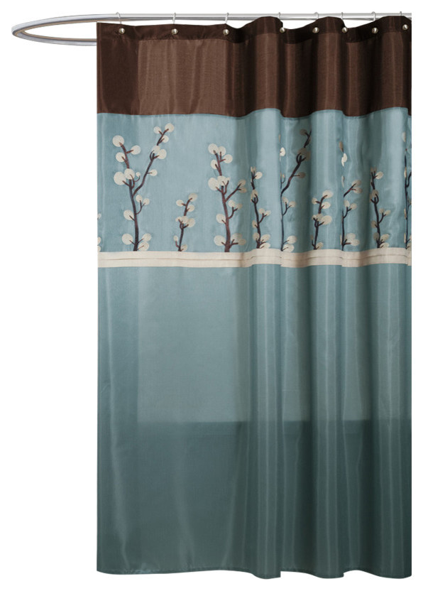 cocoa flower blue brown shower curtain 72x72