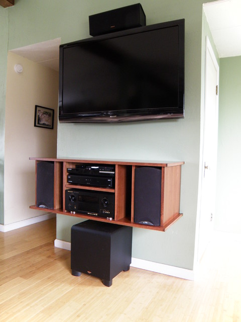 Floating Entertainment Cabinet Contemporary Home Theater Boise
