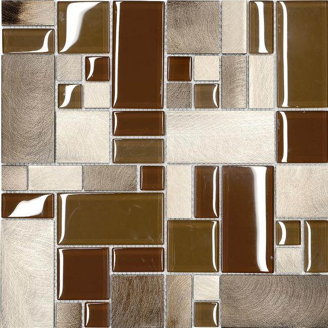 brown metal glass modern kitchen mosaic backsplash tile 12 x12