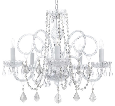 Murano Venetian Style All Crystal Chandelier With Teak Traditional Chandeliers