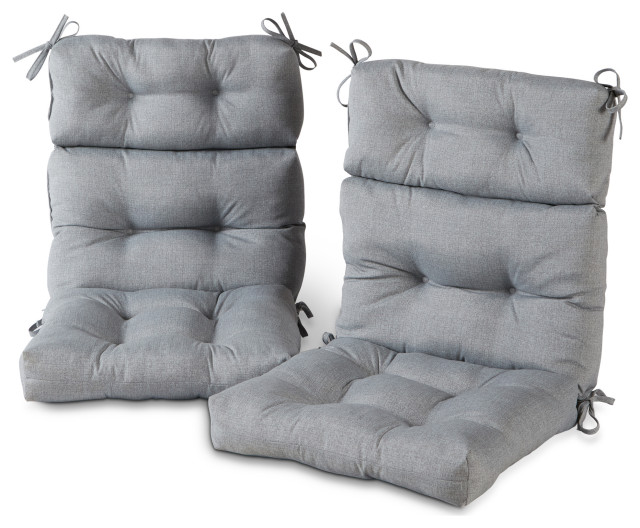 outdoor high back chair cushion set of 2 heather gray