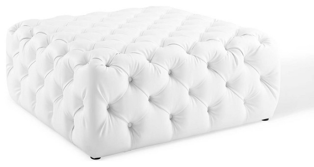 anthem tufted button large square faux leather ottoman white