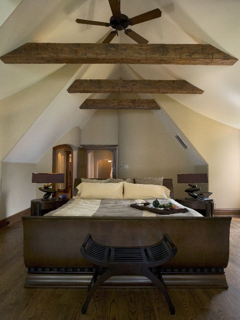 Master Bedroom With Cathedral Ceiling And Rustic Fir