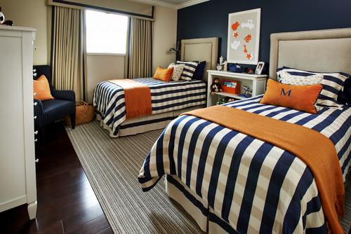 Navy kids room with orange