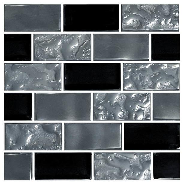 12 x12 glass tile blends titanium series black