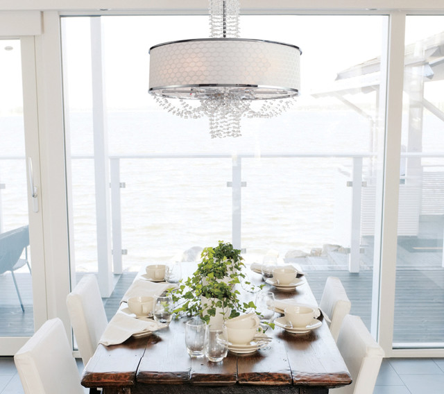 Allure Crystal Chandelier With Silk Drum Shade Contemporary Dining Room