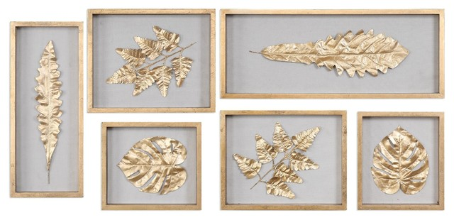 Gold Leaf Shadowbox Wall Art, Panel Leaves Natural, 6