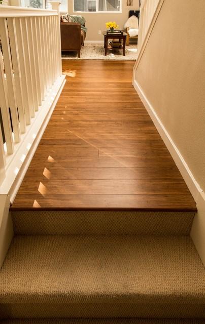 Bamboo Flooring Carpeted Stairs San Jose Ca Hallway | Hall Stairs And Landing Carpet | Stair Landing 1028 1028 | Staircase | Grey | White | Pinstripe Grey
