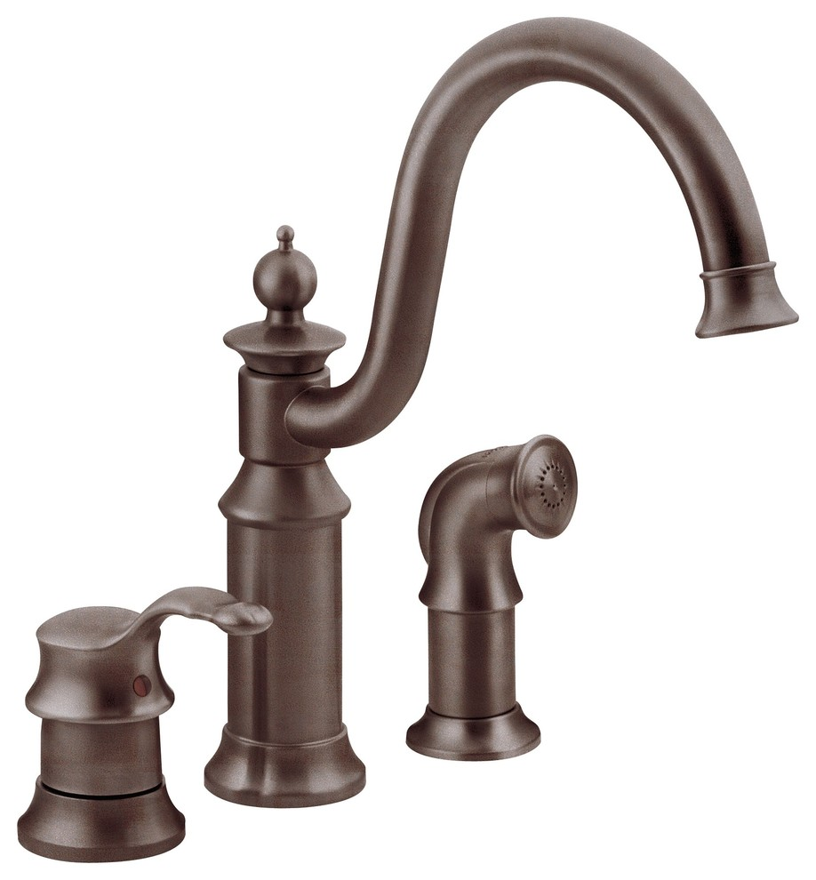 moen waterhill oil rubbed bronze one handle kitchen faucet s711orb