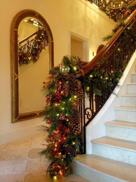 Holiday Decor Stair Banister Garland Traditional