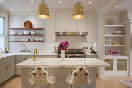Calacatta Marble Island for Contemporary Kitchen Remodel