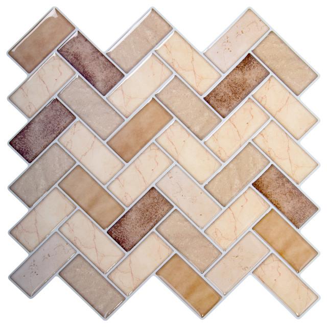 herringbone peel stick wall tiles 10x10 beige 6 pieces