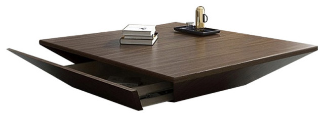 modern wood large square coffee table with storage drum drawer