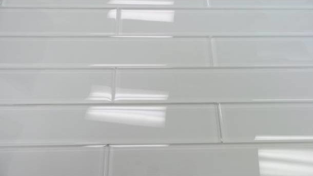 super white glossy subway glass tile sample