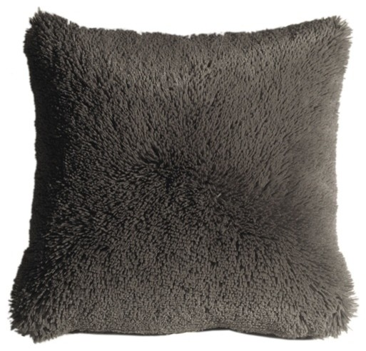 Gray Fringe Throw Pillow