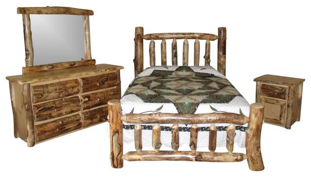rustic aspen log king bedroom set