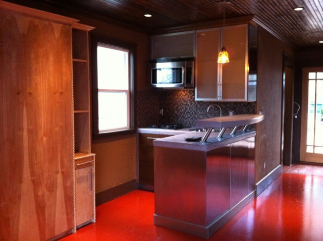 2 Car Garage Converted Into A Sy Studio Apartment With Murphy Bedcraftsman Kitchen Austin