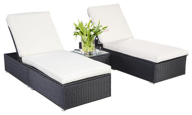 3 Piece Wicker Rattan Chaise Lounge Chair Set Patio Steel