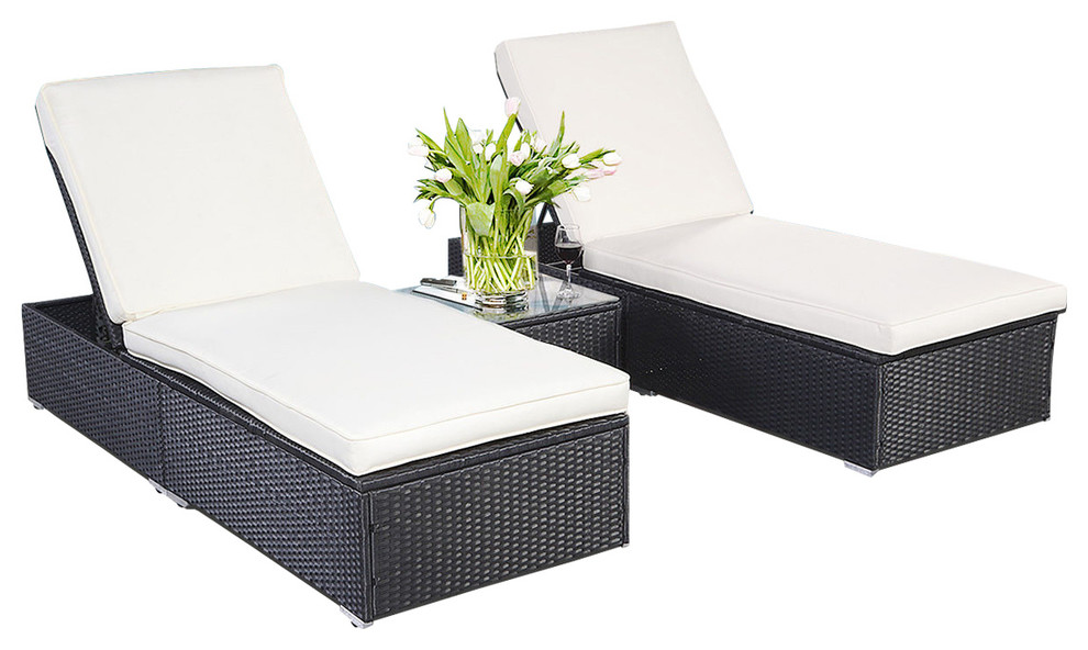 outdoor patio chaise lounge chair wicker rattan 3 piece black