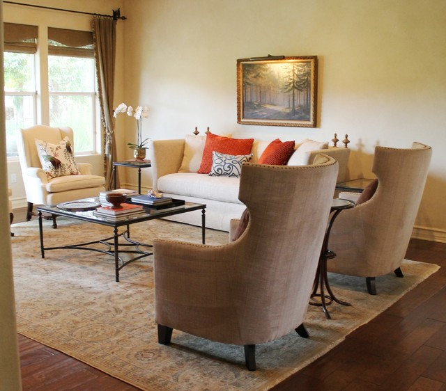 Nailhead Wingback Chairs and High Back Sofa with Finials