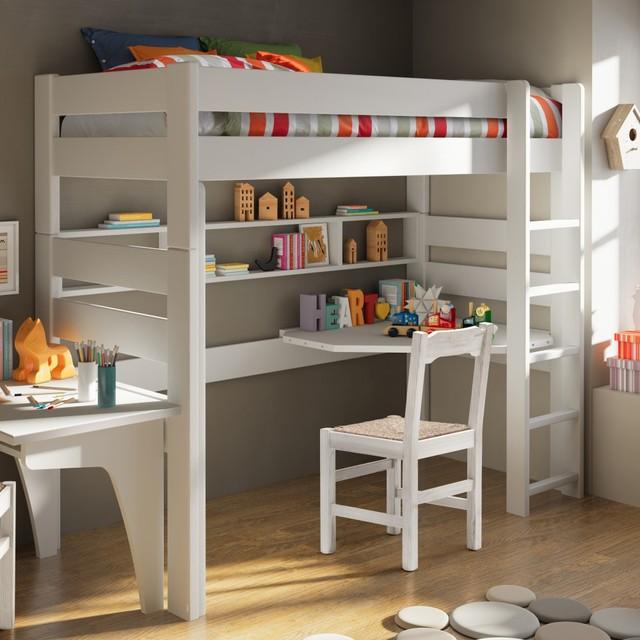 lit mezzanine avec bureau et etageres classique chambre d enfant