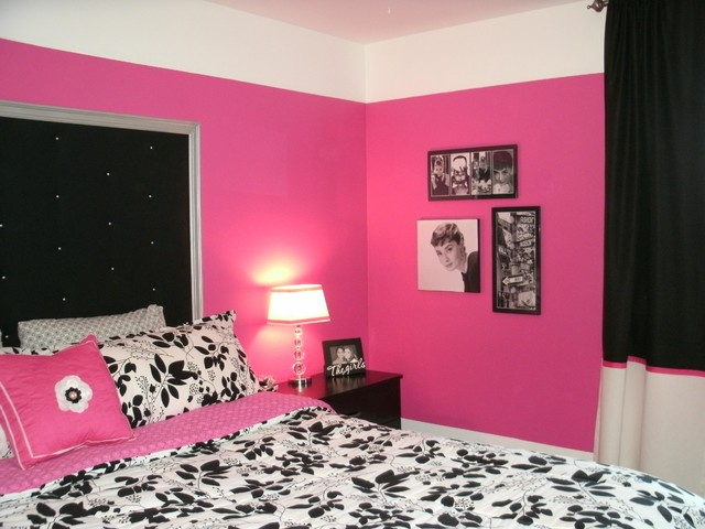 dramatic hot pink, black & white teen bedroom - contemporary