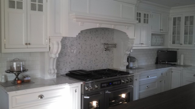 White And Gray 'Lace' And White Ceramic Subway Tile