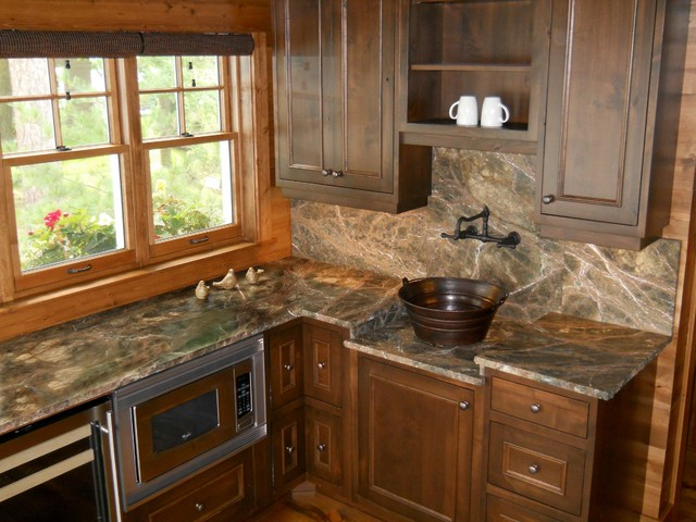 Rainforest Green Marble Kitchen Rustic Kitchen