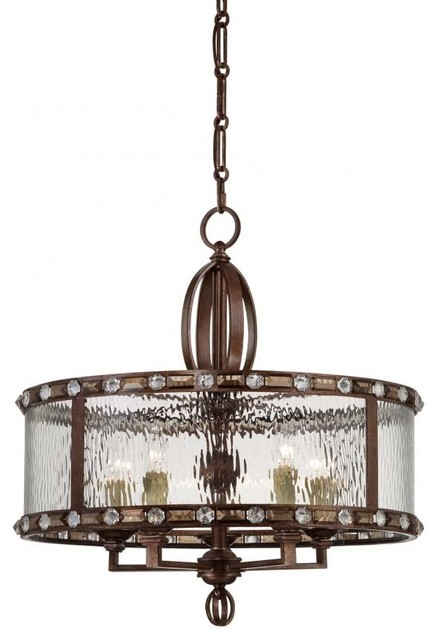 Five Light Clear Watered Glass Gilded Bronze Drum Shade Chandelier Transitional Chandeliers