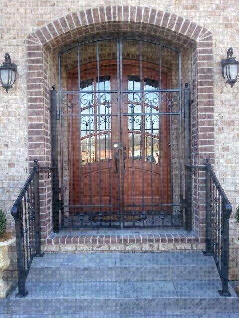 Wrought Iron Security Door And Hand Rails Traditional Entry Nashville By Heritage Iron