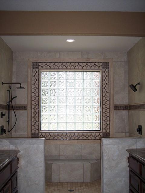 Decorative Tile Around Glass Block Window Traditional