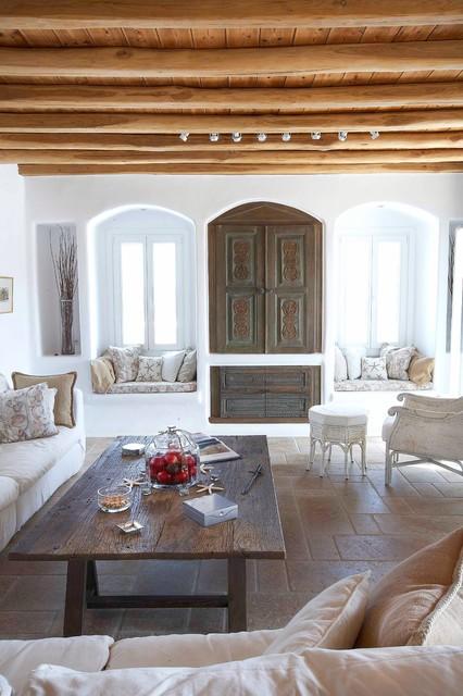 Mykonos Panormos Villas mediterranean-living-room