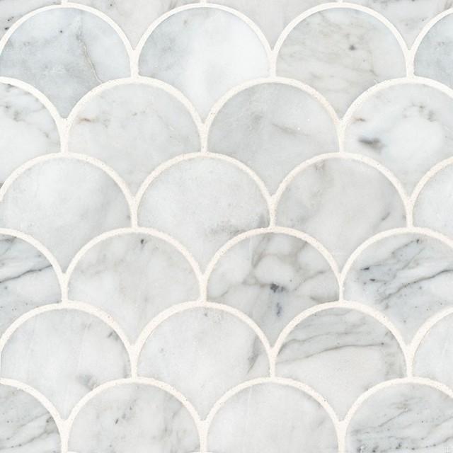 calacatta blanco scallop pattern polished backsplash wall tile sample