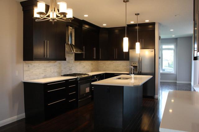 Marda Loop Kitchen Espresso Flat Veneer Slab Modern Kitchen Calgary By One Tree