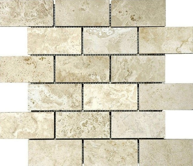 honed beveled tuscany ivory travertine tile chip size 2 x4 sample